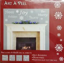 "Christmas Holiday Vinyl Decal Home Decor Wall Words 14""x 14"" WHITE"