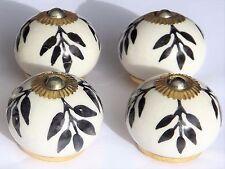 porcelaine céramique boutons tire-placard blanc rond avec NOIR FEUILLAGE (cuivre