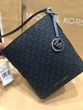#SALE! MICHAEL KORS SMALL KIMBERLY SIGNATURE BUCKET BAG IN NAVY w/ receipt