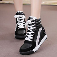 Women's Fashion Hidden Wedge Casual High Top Lace Up Shoes Sneakers Ankle Boots