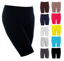 Womens Cotton Knee Length Active Dance Cycling Gym Ladies Leggings Shorts White XL