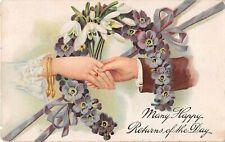 Lovers Clasping Hands Thru Horseshoe of Primroses & Snowdrops-1911 Birthday PC