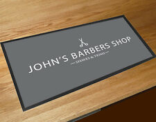 Personalised with your name grey Barber shop Barbers  Shop Counter mat