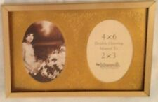 """Goldtone 4X6"""" Picture Frame Holds Two 2 X 3"""" Oval Photos"""