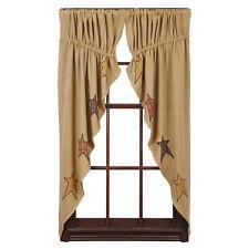 Primitive Red Mustard Black Homespun Applique Star Burlap Curtain Prairie Swags