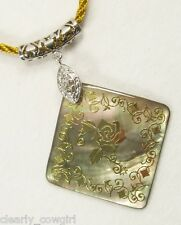 #6424 -- GOLDEN CORD NECKLACE MOTHER OF PEARL FLORAL PENDANT -WOW!