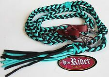 Roping Knotted Horse Tack Western Barrel Reins Nylon Braided Turquoise 607153