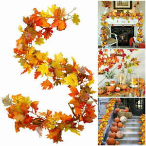 5.5ft Artificial Christmas Fall Maple Leaf Garland Hanging Plant  Home Decor
