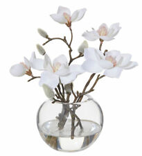 ROGUE Fake Flower Arrangement w Artificial Water White Magnolia Sphere Vase SML