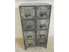 Small Industrial Cabinet 8 Drawer Cup Handles Bronzed Vents Distressed Storage