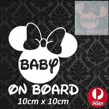 Minnie Mouse Mickey Disney Sticker Decal Vinyl White Car Vehicle Baby On Board