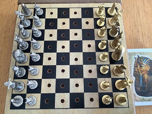 Vintage Egyptian peg travel chess set Gold Silver colour Metal + a Pack Of Cards