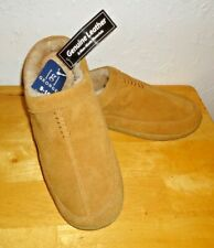 Men's George Genuine Suede Leather Slippers Tan Size 9-10 Indoor/Outdoor NWT