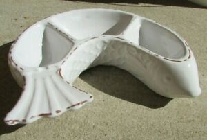 MUD PIE White FISH Scales Half Moon Shaped 3 Divided Serving Dish Terra Cotta
