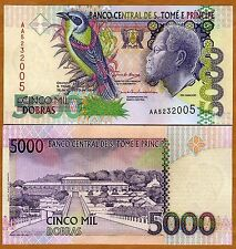 SAINT THOMAS & PRINCE 5000 DOBRAS RARE ITEM UNC # 626