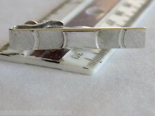 """Vintage Brushed and Polished Silvertone Swank Tie Clip 1"""" x 1/4"""" Nice Condition"""