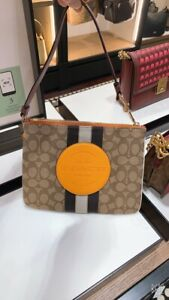 NWT Coach Dempsey Gallery Pouch In Signature Jacquard With Stripe and Patches