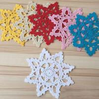 4Pcs Cotton Hand Crochet Lace Doily Doilies Mats Coasters Snowflake Wedding 15cm