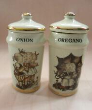 Lot of 4 - 1987 M J Hummell Spice Jars - Garlic, Oregano, Onion, Rosemary