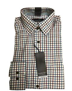 100% BRUSHED COTTON BLUE CHECK WARM HANDLE COUNTRY HUNTING SHIRT BY DOUBLE TWO