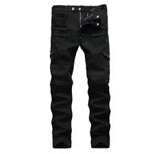 Size 30-40 Men Racer Ripped Jeans Biker Skinny Pants Straight Leg Denim Trousers