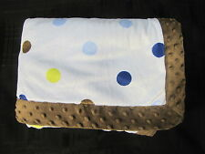 Carters Just One You Baby Blanket Brown Green Blue Polka Dots Minky