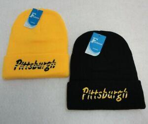 PITTSBURGH BLACK & GOLD BEANIE HAT (2 CHOICES)