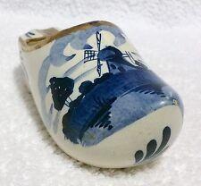 Hand Painted Delfts Blue IKLA HOLLAND SHOE - Windmill - Gold Trim