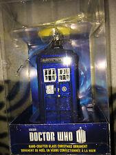 Doctor who   tardis  glass  4.5 inch  christmas  ornament