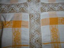 Antique Tischdecke-Tafeltuch Spitze-Borde-Handarbeit-Gelb/Blanc 120x155cm