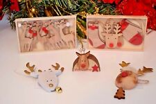 Christmas Decorations wooden reindeer tree ornaments red nose Rudolph