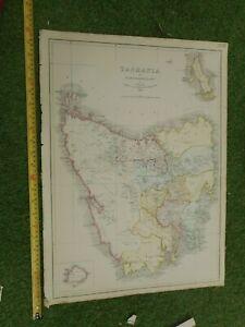 100% ORIGINAL TASMANIA AUSTRALIA MAP BY JAMES WYLD  C1849 VGC ORIGINAL COLOUR