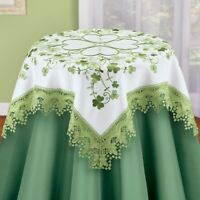 Embroidered Shamrock Lace St. Patrick's Day Polyester Square Tablecloth