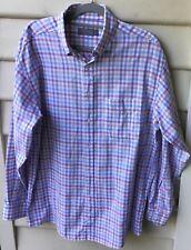TALBOTS Sz M Mens Big & Tall Shirt Blue Multi Check Long Sleeve 100% Cotton EUC
