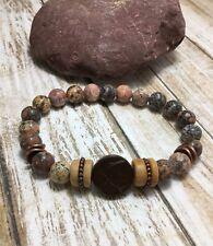 Handmade Healing Bohemian Leopard Jasper Stone Wood Stretch Bracelets USA