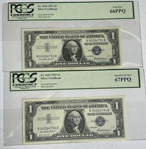 (2) Consecutive 1957 $1 Washington U.S Silver Certificate Notes PCGS 66/7PPQ