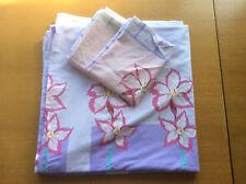Purple Pink Green Floral Double Duvet Cover & Pillowcases Set, Cotton Blend