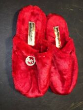 Michael Kors Women's Faux Red Fur Slippers No Size 10.5 Inches Long