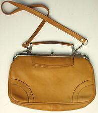 Handtasche Vintage Henkeltasche Leder Silber 70er Ocker Gelbbraun Tasche