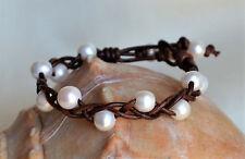 Pearls on Leather Cuff Bracelet Braided Handmade Freshwater Pearls Yevga 8''