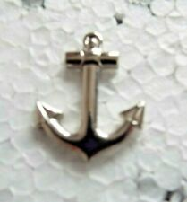 Chrome plated Ships Anchor pin badge captains hat pin