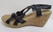 White Mountain Size 6.5 Black Leather Wedge Cork Heels New Womens Shoes