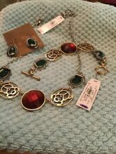 """NWT Lucky Brand Fall Color Set - 22"""" Necklace, 7-1/2"""" Bracelet And 1"""" Earrings"""
