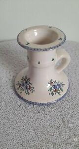 Peint a la main hand painted candle stick handle forget me not floral ceramic