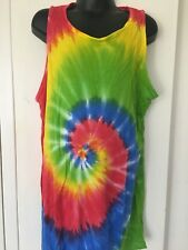 Kids Tie-Dyed Unisex Singlet Rainbow Green/Yell/Blue 12-14yr Great for Christmas