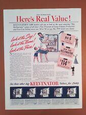 1940 KELVINATOR REFRIGERATOR Original Vintage Kitchen Print AD HERE'S REAL VALUE