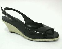 COLE HAAN Wedge Espadrille sandals Black Patent Leather WOMENS US 8.5 M EUR 39