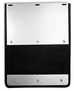 "LUND EX-930F-99 MUD FLAPS 12""x18"" Black w/ Stainless Trim; Single Wheel; Pair"