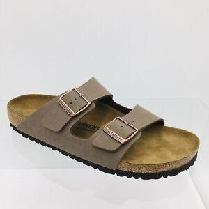 Birkenstock Arizona Birkibuc Sandal for Men, Size 44 Narrow Fit - Mocha