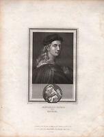 1825 Georgianisch Porträt Aufdruck Raffaello Sanzio Raphael + Page Von